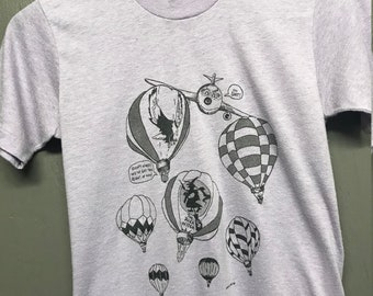 2XS thin vintage 80s 1986 The Rich Witch hot air balloon t shirt