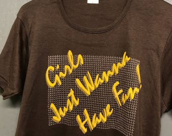M nos vintage 80s Girls Just Wanna Have Fun t shirt
