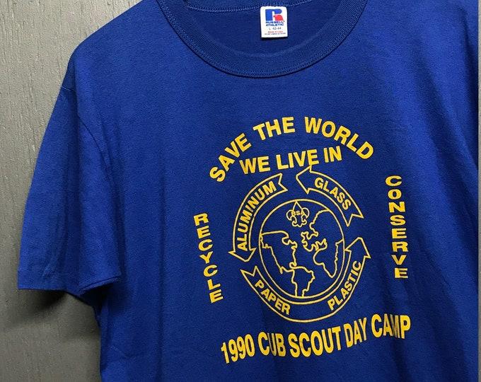 L vintage 1990 Recycle Cub Scouts t shirt
