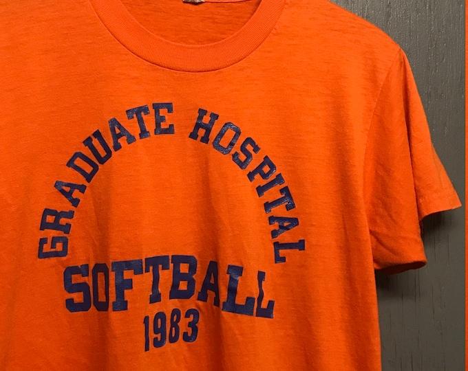 M thin vintage 80s 1983 Graduate Hospital Softball screen stars t shirt