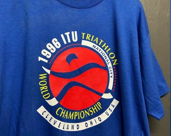 XL nos vintage 90s 1996 ITU Triathlon Cleveland Ohio t shirt