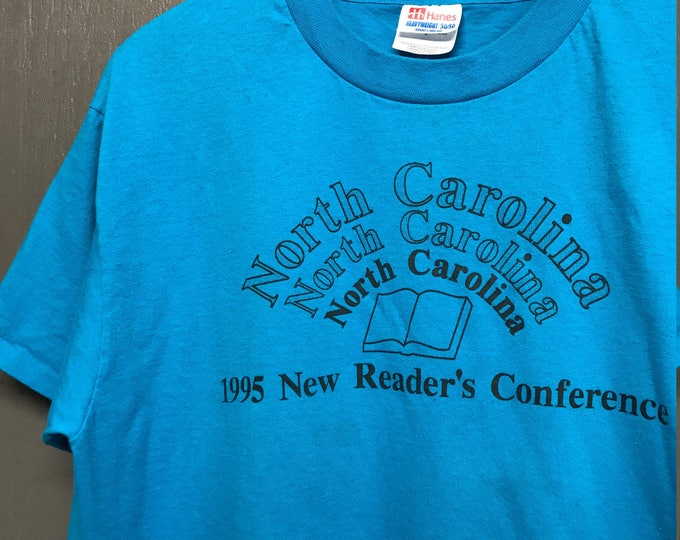 L vintage 90s 1995 North Carolina readers are leaders t shirt
