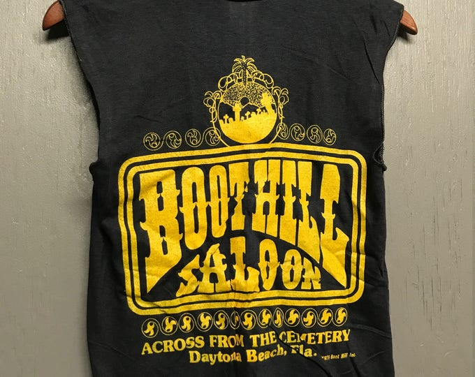 XS nos vintage 70s 1979 Boothill Saloon biker muscle t shirt Florida