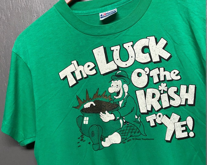 M thin vintage 80s Luck o The Irish t shirt