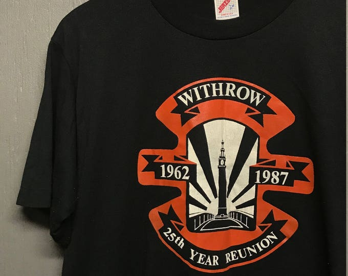 M vintage 80s 1987 Withrow University High School wuhs Tigers t shirt Cincinnati