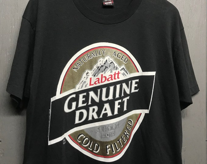 XL vtg 90s 1992 Labatt Genuine Draft beer t shirt