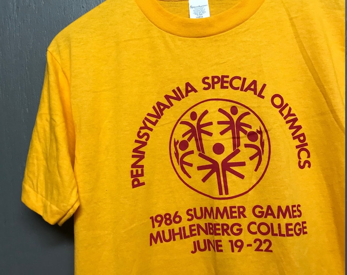 M nos thin vtg 80s 1986 Muhlenberg College Pennsylvania Special Olympics t shirt