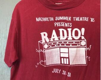 XL vintage 80s 1983 Radio Nazareth Theatre t shirt