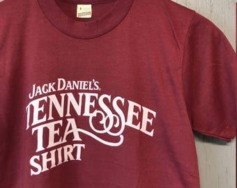 S * Deadstock vintage 80s Jack Daniels Tennessee Tea Shiloh Club screen stars t shirt