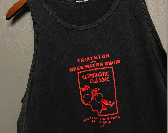 M vintage 80s 1989 Clermont Classic Triathlon East Fork State Park Bethel Ohio tank top t shirt