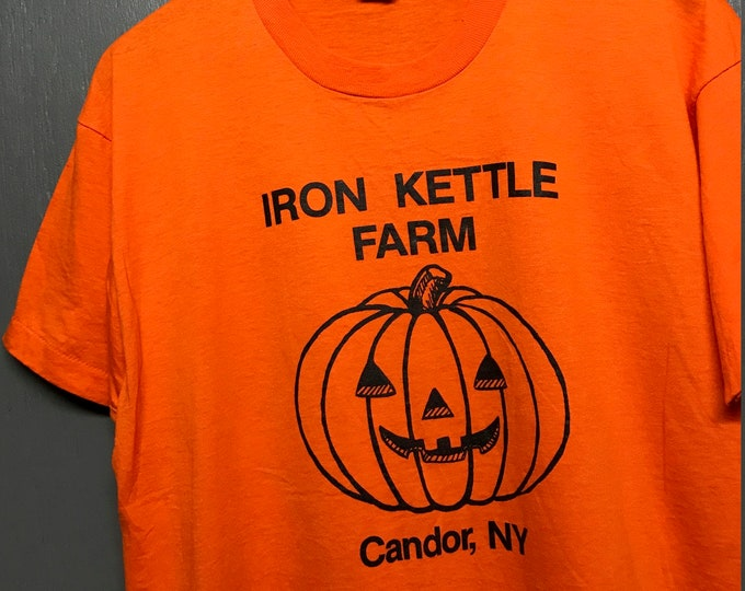 XL thin vintage 80s Candor New York iron kettle farm Pumpkin screen stars t shirt