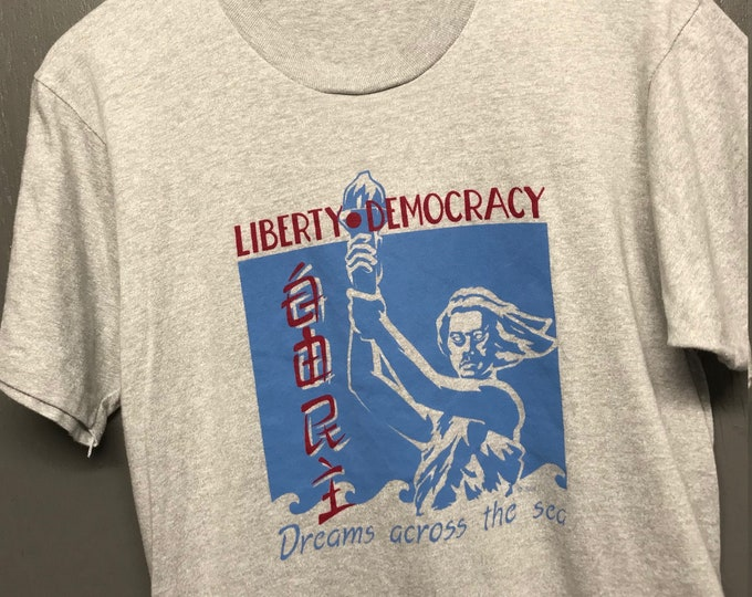 M vintage 80s 1989 Liberty Democracy Dreams Across The Sea t shirt * DACA immigration