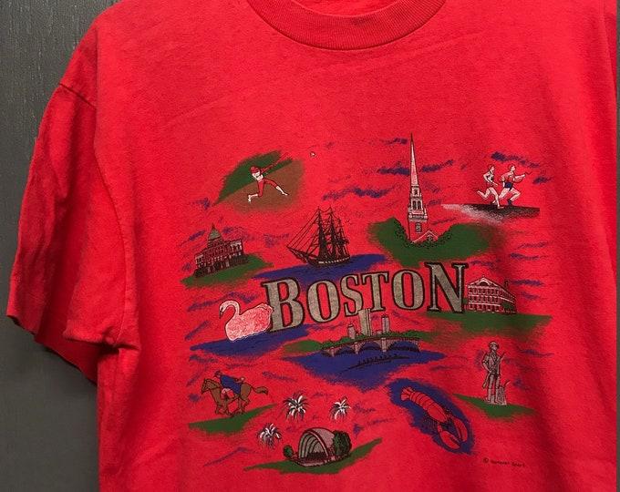 L vtg 90s Boston MA tourist t shirt