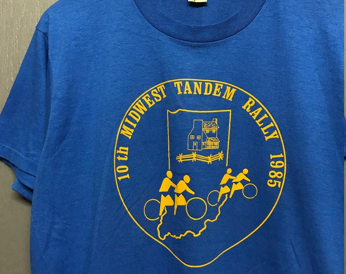 L thin vintage 80s 1985 Midwest Tandem Rally Ohio bicycle t shirt