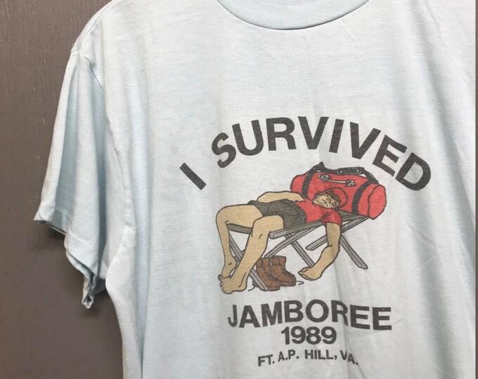 L vintage 80s 1989 Fort AP Hill Jamboree t shirt