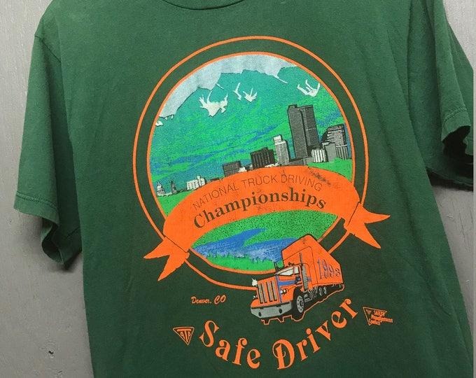 L vintage 90s 1993 Truck Driving Championships Denver CO t shirt * trucker