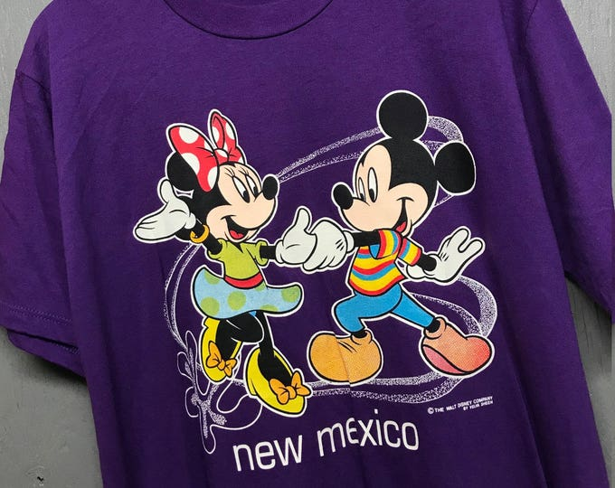 L nos vintage 90s New Mexico Mickey Minnie Mouse tourist t shirt