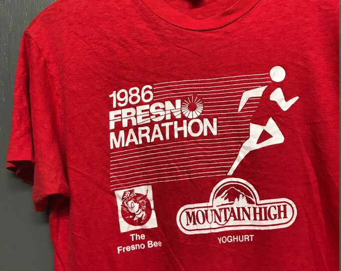 M vtg 80s 1986 Fresno Marathon t shirt