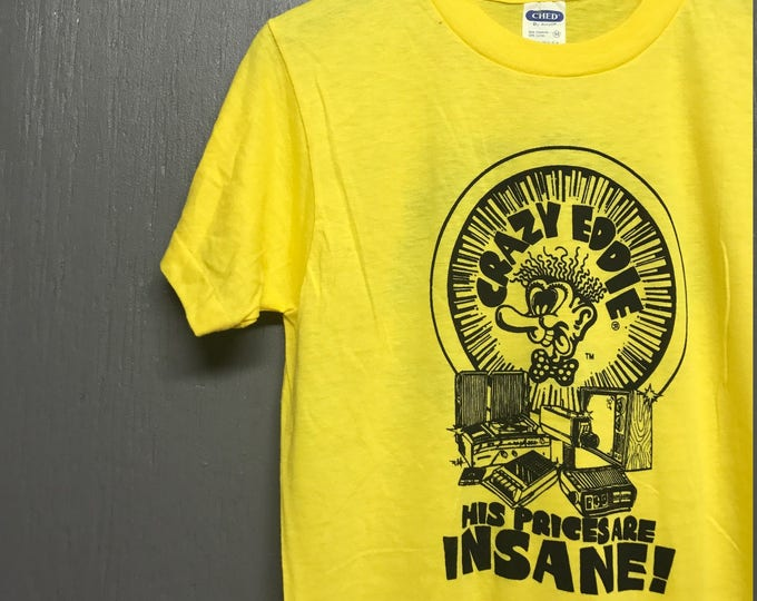 S * NOS vtg 80s Crazy Eddie prices are insane t shirt