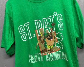 L vtg 80s 1986 TAZ party animal st Patrick's day t shirt