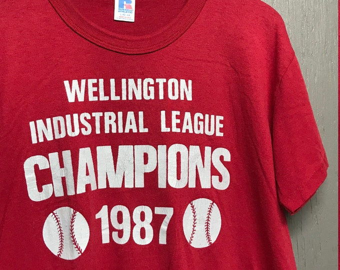 L vintage 80s 1987 Wellington Industrial League baseball / softball t shirt