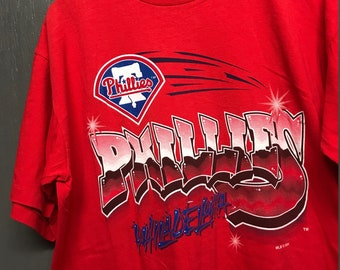 XL vtg 90s 1994 Philadelphia Phillies rap graffiti logo t shirt