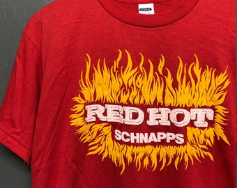 L nos thin vintage 80s Red Hot Schnapps t shirt * alcohol
