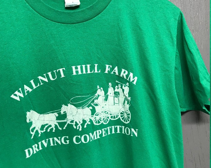 M vintage 80s Walnut Hill Farm driving competition Pittsford New York t shirt