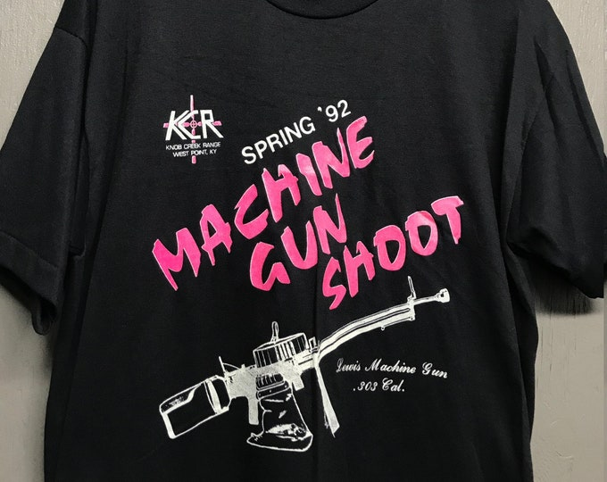L nos vtg 90s 1992 Machine Gun Shoot West Point Kentucky t shirt