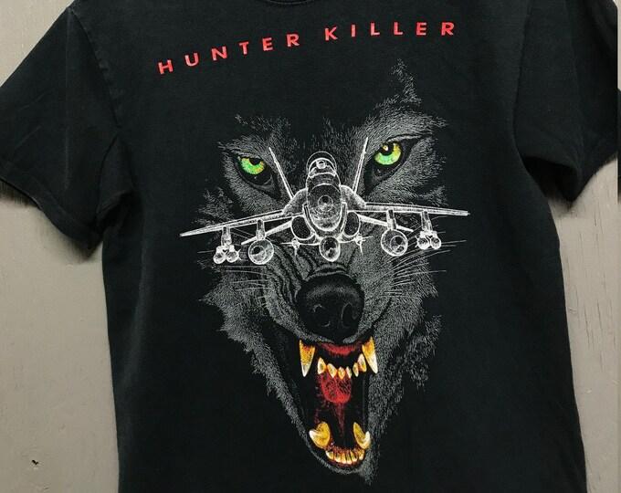 S/M vintage 90s Hunter Killer FA-18 Super Hornet fighter jet t shirt * small medium