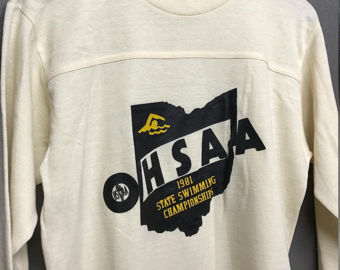 M vintage 80s 1981 HSAA swimming Ohio home school t shirt jersey Fits like M