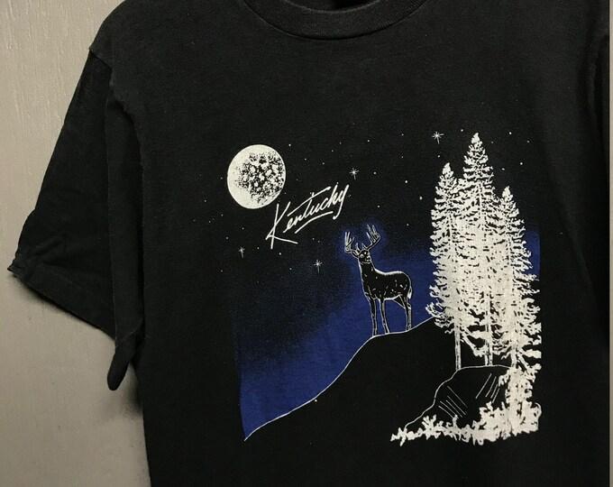 L vtg 90s Kentucky tourist t shirt * nature moon