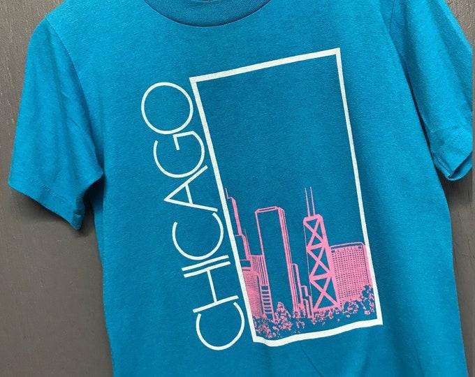 S vtg 80s Chicago skyline tourist t shirt