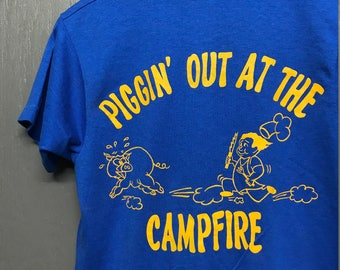 S vintage 80s 1988 Camp Fire Pig Out Lee Hall Farm screen stars t shirt