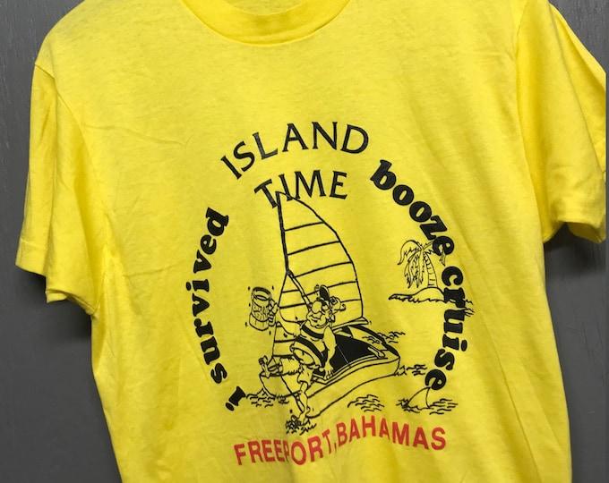 M nos thin vtg 80s I Survived Booze Cruise Freeport Bahamas screen stars tourist t shirt