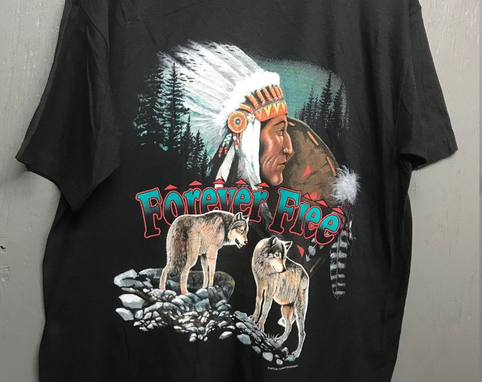 XL nos vtg 90s Thunder forever free biker trucker t shirt * wolves Indian nature