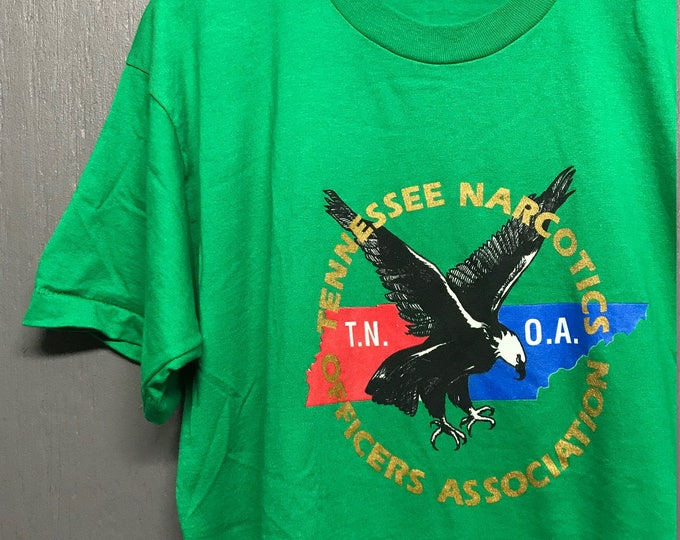 L nos vintage 90s Tennessee Narcotics t shirt * drugs