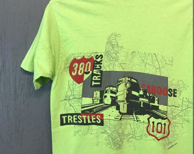 S * vintage 80s 1984 OP ocean pacific surf Train t shirt