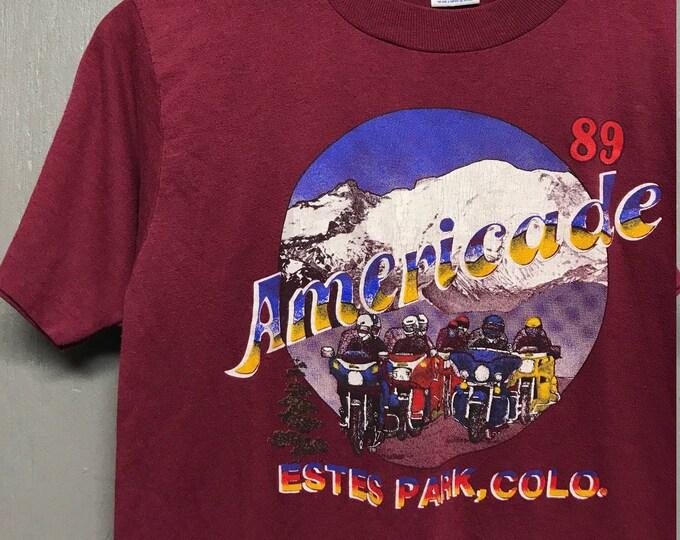 S vintage 80s 1989 Americade Estese Park Colorado motorcycle shirt