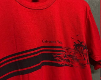 L vintage 80s Galveston Island tourist belly t shirt * beach texas