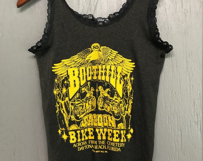 Women's S nos vintage 80s 1985 Boothill Saloon biker tank top shirt * motorcycle