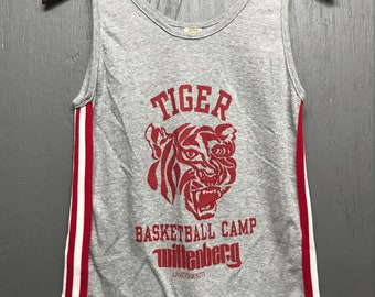 XS vtg 80s Wittenberg University Tigers basketball camp heather grey tank top t shirt * Ohio