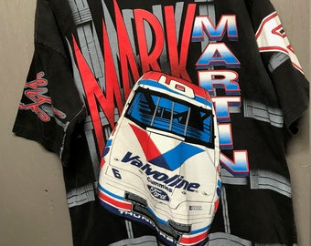 L/XL vintage 90s all over print Mark Martin NASCAR t shirt