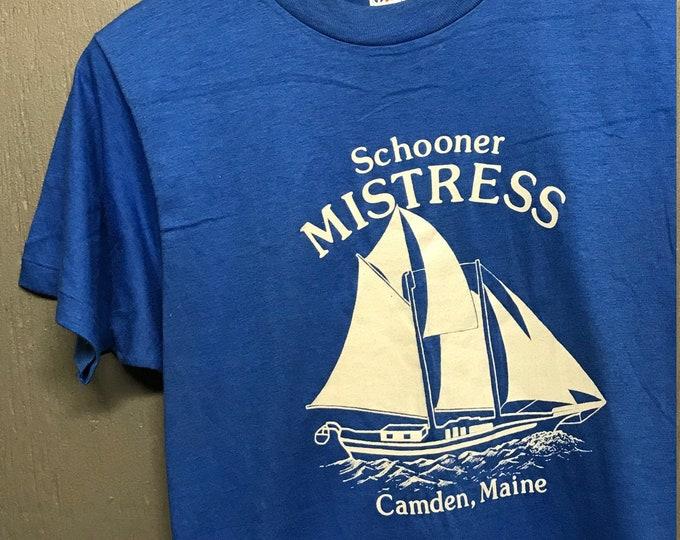 S nos thin vtg 80s Camden Main Schooner Mistress t shirt
