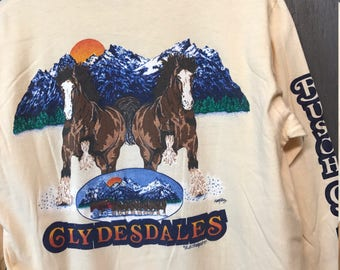 M * Vintage 80s 1984 Busch Gardens Clydesdales Tampa Florida L/S t shirt