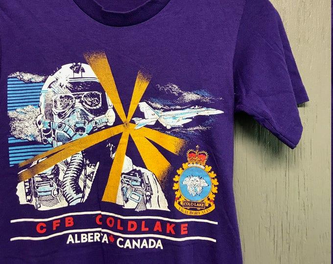 XS vintage 80s CFB Coldlake Alberta Canada t shirt