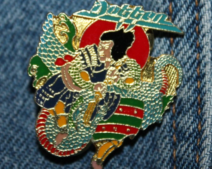 NOS vtg 80s 1987 licensed DOKKEN enamel pin * for shirt jacket hat glam metal