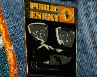 Lot of 10 * NOS vtg 80s licensed Public Enemy enamel pin * for shirt jacket hat rap