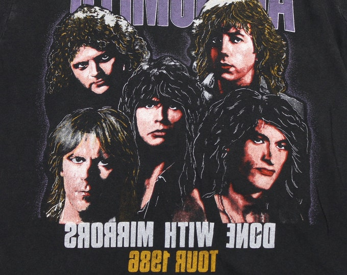 S * vtg 80s 1986 Aerosmith done with mirrors tour t shirt * yngwie malmsteen Foxboro Mass * 98.24