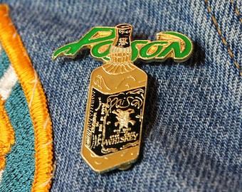 NOS vtg 80s 1989 licensed POISON enamel pin * for shirt jacket hat glam metal